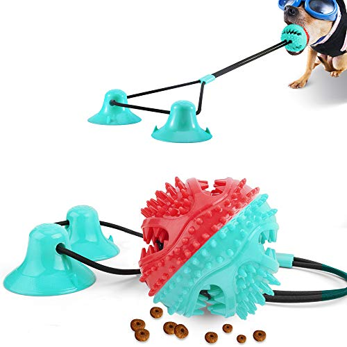 Elastic Rope Double Suction Cup Tug of War Dog Toy Interactive Dog Pull Toys Pet Aggressive Chewers Puzzle Toothbrush Molar Bite Squeaky Chew Toys Ball Teeth Cleaning Food Dispensing (Turquoise Red)