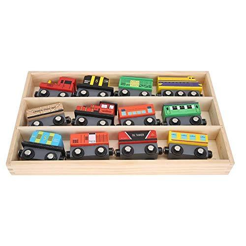 YOUTHINK 12 Piezas de Trenes Magnéticos de Trenes de Juguete de Simulación de Trenes de Juguete Educativo de Madera para Niños de Juguete para Niños Niños Niños Regalo