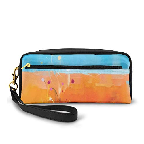 Pencil Case Pen Bag Pouch Stationary,Abstract Meadows Under Blue Sky Nature Themed Artwork Beauty Floral Illustration,Small Makeup Bag Coin Purse