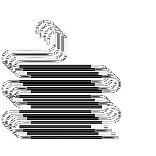 WOMGF Tipo S Percha para Pantalones 4 Unidades Percha Ahorro de Espacio Percha Pantalones Antideslizante Organizador de Armario para Bufandas, Vaqueros, Pantalones, Toallas y Ropa en General, Negro