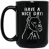 N\A Divertido Dogo Argentino Tenga un Buen día Taza de café Negro con el Dedo Medio