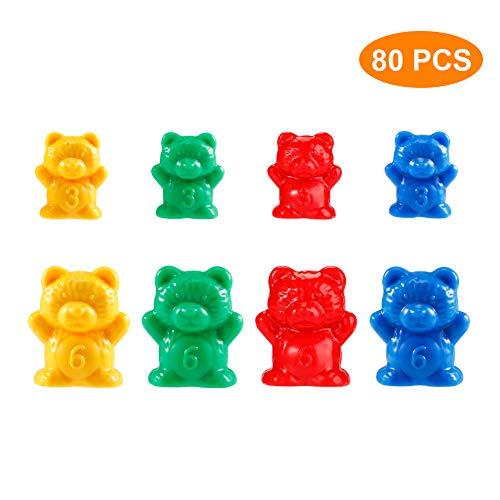 EXTSUD Juguete Montessori de Ositos, Juguete Clasificar Colores Juguetes Educativos de Reconocimiento de Números y Colores para Niños