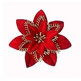 Acde 10 piezas 13cm decoraciones de flores navideñas artificiales brillo poinsettia flores falsas adornos árboles navidad con clips (rojo)