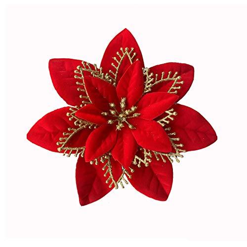 ACDE 10 Pezzi 13cm Decorazioni Fiori Artificiali Natale Glitter Poinsettia Fiori Finti Ornamenti Alberi Natale con Clip - Rosso