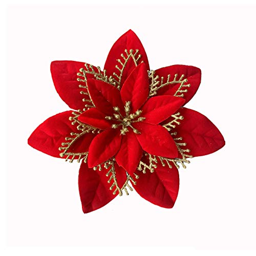 ACDE 10 PCS 5.1 inch Artificial Christmas Flowers Decorations Glitter Poinsettia Fake Flowers Christmas Tree Ornaments with Clips - Red