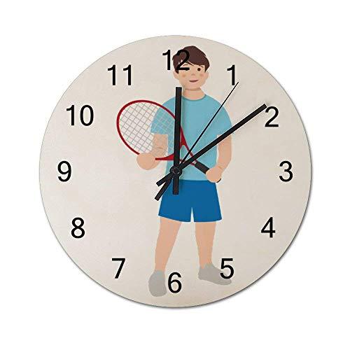 Reloj de Pared de Madera Redondo rústico silencioso sin tictac de 10 Pulgadas para niños con Raqueta de Tenis Decoración de Pared de Granja Vintage para el hogar, la Oficina, la Escuela