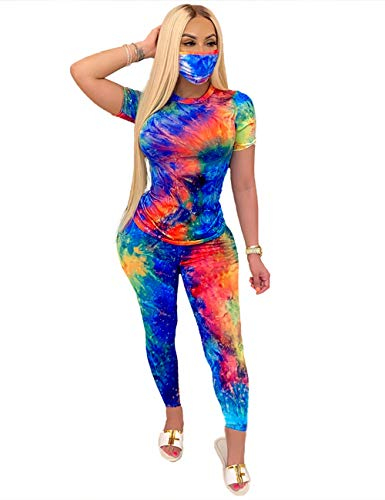 2 Piece Outfits for Women, Tie Dye Short Sleeve Top and Pants Set Tracksuit Loungewear Sets Long Blue Orange M