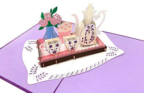3D Pop up Karte Tee-Service mit Blumenstrauß, Rosen & Cupcake/Muffin, Grußkarte, Glückwunschkarte zum Geburtstag, Geschenkkarte, Happy Birthday Card, Geburtstagskarten