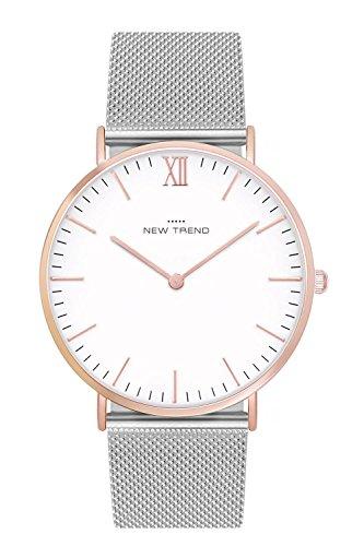 New Trend Unisex Armbanduhr Damen-Uhr Herren-Uhr, Analog-Uhr, Quarz-Uhr, Metall-Armband, Mesh-Armband Silber