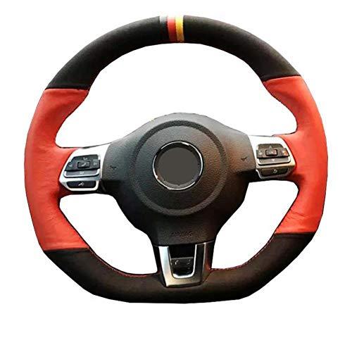 MDHANBK Funda para volante de coche cosida a mano, para VW Polo GTI Scirocco R Passat CC R-Line 2010 Volkswagen Golf 6 GTI MK6