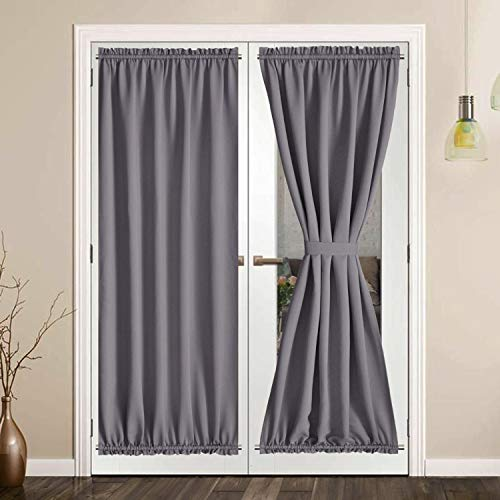 SHEEROOM French Door Curtains, Thermal Insulated Drapes Rod Pocket Blackout Privacy Panel for Living Room Patio Glass Door Window with Tieback Set of 2 Panels, 25 x 72 inch, Grey