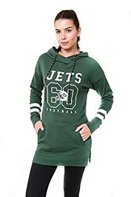 Ultra Game Women's NFL Tunic Hoodie Pullover Sweatshirt Terry, New York Jets, Team Color, Large