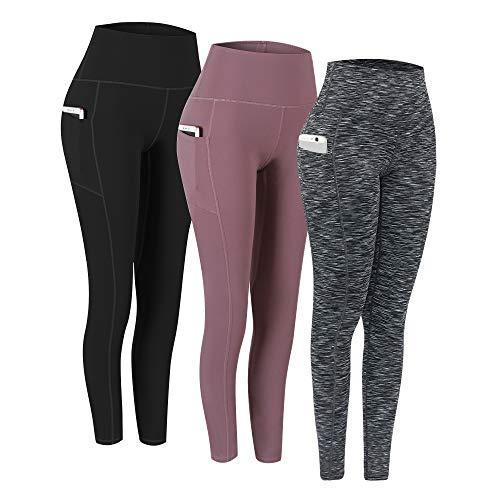 Fengbay 3 Pack High Waist Yoga Pants, Pocket Yoga Pants Tummy Control Workout Running 4 Way Stretch Yoga Leggings
