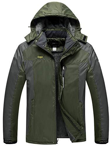 Lega Men's Outdoor Waterproof Mountain Jacket Fleece Windproof Ski Jacket(Army Green/M)
