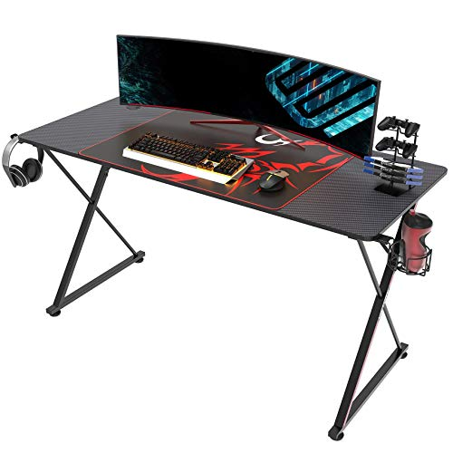 EUREKA ERGONOMIC Gaming Desk 55 Inch, X Shaped Computer Desk with Mouse Pad, Headphone Hook, Gaming Controller Stand, Cup Holder