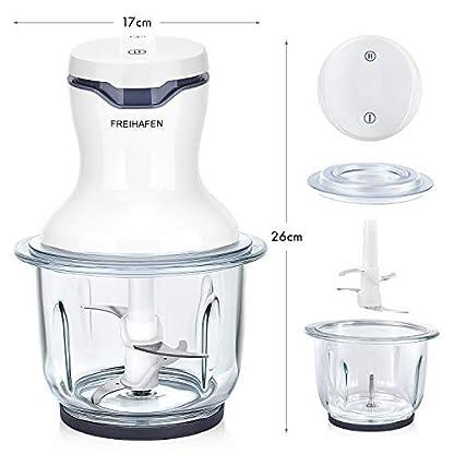 FREIHAFEN-Zerkleinerer-Universalzerkleinerer-mit-2-Stufen-300W-Elektrische-Multizerkleinerer-Zwiebelschneider-mit-15L-Glasbehaelter-4-Edelstahlmesser-fuer-Fleisch-Gemuese-Babynahrung-Weiss