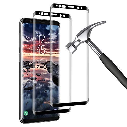 Mriaiz Verre Trempé pour Samsung Galaxy S9, [2 Pack] [9H Dureté] [sans Bulles] [3D Bord Rond] [Haute définition] Anti Rayures Film Protection écran pour Samsung Galaxy S9