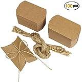 Cajas para Regalo Vintage Papel Kraft Marrón a Rústico Shabby Envolver Cajas de Dulces de Regalo con Cuerda para Boda Favor Paquete, Cumpleaños,Fiesta (paquete de 100)