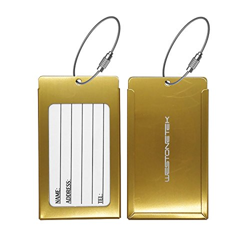 Pack of 2 Luggage Tags, Aluminum Metal Travel ID Tag Business Card Holder Name Address Identifier Labels Suitcase Label with Steel Cable for Baggage Bag, Gold