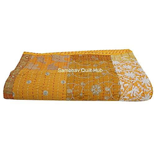 Kantha - Colcha Kantha para decoración de remiendo (2 fundas de almohadas), color amarillo