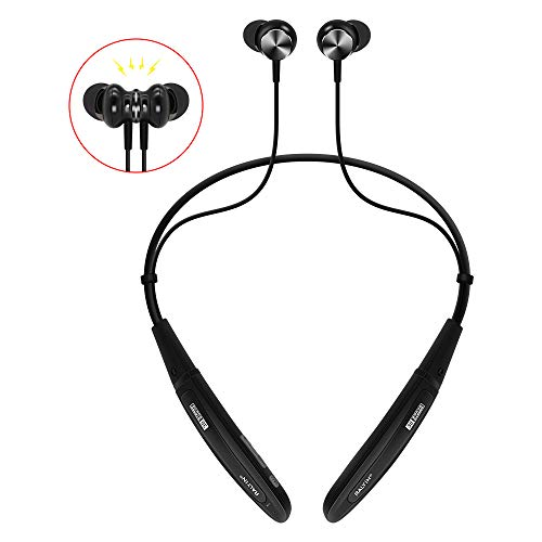 Bluetooth Headphones Neckband,Ralyin MP3 Player Magnetic Sport Wireless Earbuds Built in 8GB TF Memory Card Wearable Headset with Mic for Running Gym Workout Sweatproof Earphones Cordless (Black)