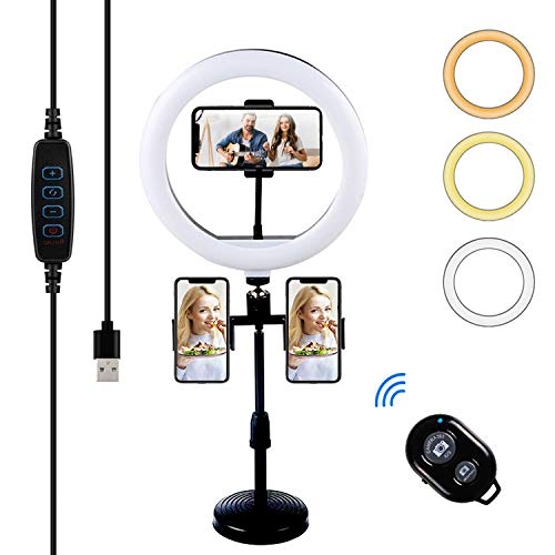 10' LED Ring Light, Selfie Ring Light with Stand and 3 Phone Holder Dimmable Desktop Ring Light with 3 Light Colors,10 Brightness for Makeup/Live Stream/YouTube Video/Photography, Bluetooth