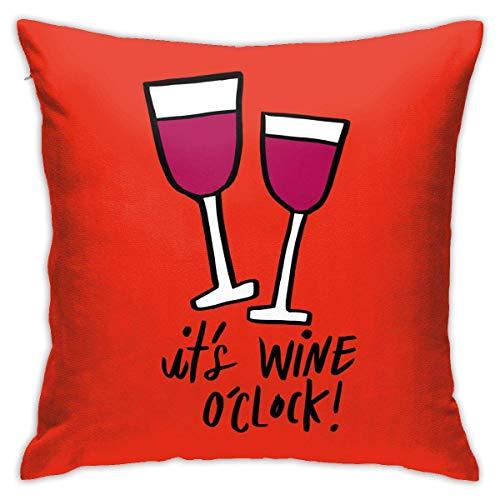 pingshang Fundas de almohada, de algodón y poliéster, diseño de vino O'Clo, cuadradas, para sofá, decoración del hogar, 45,72 x 45,72 cm