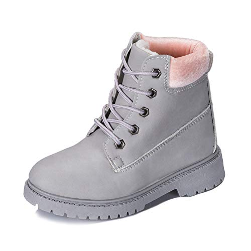 Kkomforme Toddler Hiking Snow Boots,Kids Lace-Up Ankle Boots Boy Girl Waterproof Outdoor PU Leather Workboots, Classic Winter Martin Boots(Toddler/Little Kid/Big Kid) Grey