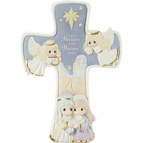 Precious Moments 201106 Let Heaven and Nature Sing Bisque Porcelain Cross, One Size, Multicolored
