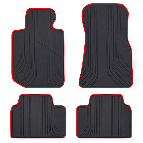 San Auto Car Floor Mat Custom Fit for BMW 3/4 Series 2019 2020 2021 F30 F31 F32 F33 F36 320i 328i 330i 335i Black Red Rubber Auto Floor Liners Set All Weather Protection Heavy Duty Odorless