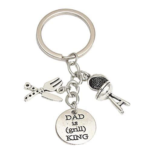 Amosfun Vater Keychain Geschenk geschnitzten Papa ist Grill König Silberwaren Anhänger Schmuck Papa Geschenke zum Vatertag