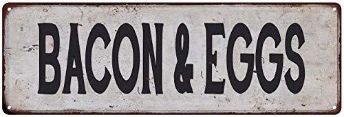 Bacon & Eggs Vintage Look Rustic Metal Sign Plaque Retro Signs Wall Decor 6 x 18 High Gloss Metal 206180035102