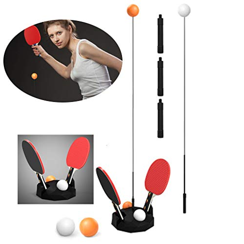 Lowest Prices! Table Tennis Trainer, Ping-Pong Paddle Tennis Training Set Height Adjustable with 6 B...