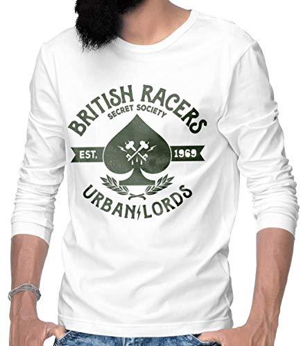 Rebel on Wheels Maglietta a maniche lunghe da uomo, moderna, a maniche lunghe, con motivo stampato, bianco, XXXL