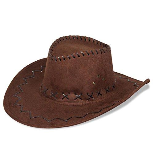 HC-Handel 910508Cappello da cowboy, stile Western, effetto scamosciato, Colore: Nero, Marrone o marrone chiaro