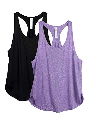 icyzone Workout Tank Tops for Women - Athletic Yoga Tops, Racerback Running Tank Top (XL, Black/Lavender)