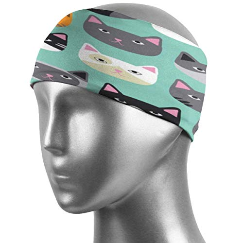 ZWHSY Venda Cute Cats Sport Headbands Sweat Wicking Head Band Super Soft Stretchy Sweatband Breathable Workout Headbands for Men Women Kids