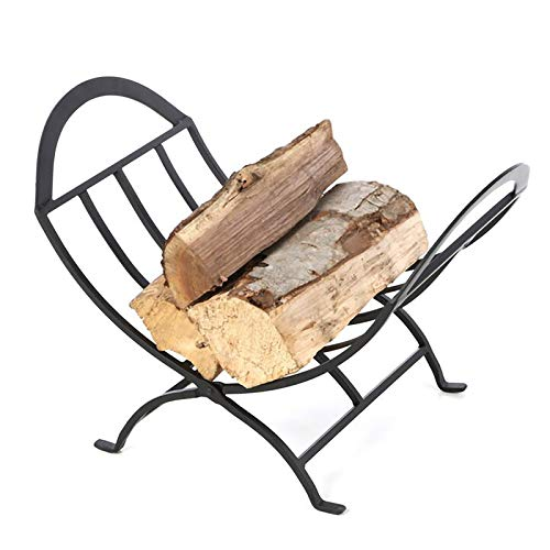Foldable Small Fireplace Firewood Log Rack, Modern Iron Wood Logs Bin Holder Carrier, for Farmouse & Indoor, Stove and Fire Pit Accessory