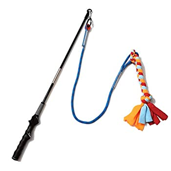 Interactive Flirt Pole Toy for Dogs Chase and Tug of War,Durable Teaser Wand with Pet Fleece Rope Tether Lure Toy to Outdoor Exercise & Training for Small Medium Large Dogs  Blue/Red POLE-35 inches