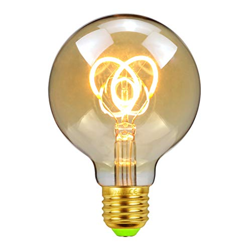 NAYOU Led Bulbs Vintage Light Bulb 2W Amber E27 Edison Led Filament Bulb, Warmth Glow Decorative Ligth 220V, Dimmable (G80 Cat Ears) [Energy Class A++]