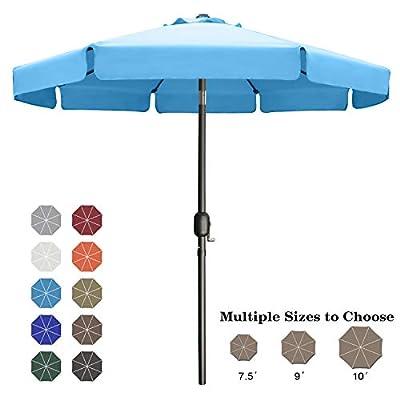 ABCCANOPY 9FT Outdoor Garden Table Umbrella Patio Umbrella Market Umbrella with Push Button Tilt for Pool Deck,Backyard and Garden. 13+Colors,8 Ribs Wave Edge,(Turquoise)