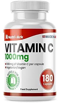 Vitamin C 1000mg 180 Capsules Suitable for Vegetarians & Vegans