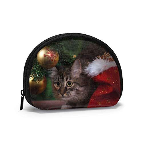 DJNGN Tela Oxford Gatos de Navidad Regalos Bolas Monedero Monedero pequeño con Cremallera Bolsa Bolsa de Cambio Mini Bolsas de Maquillaje cosmético Organizador Bolsas Multiusos