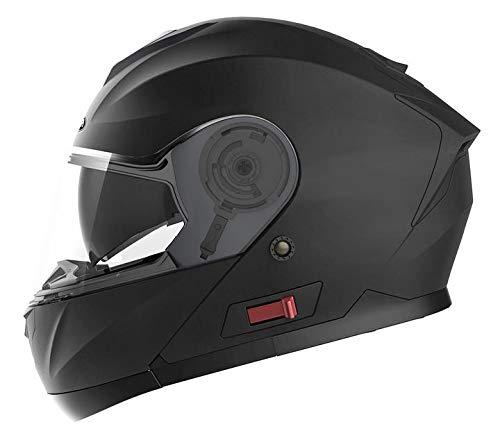 Motorradhelm Klapphelm Integralhelm Fullface Helm - Yema YM-926 Rollerhelm Sturzhelm mit Doppelvisier Sonnenblende ECE für Damen Herren Erwachsene-Schwarz Matt-L