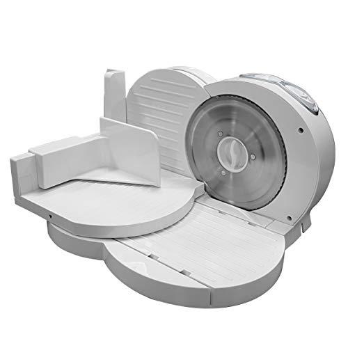 MPM MKR-03 Allesschneider, zusammenklappbar, Weiß, einstellbare Schnittstärke 15 mm, Trennscheibe 17 cm, 150 W