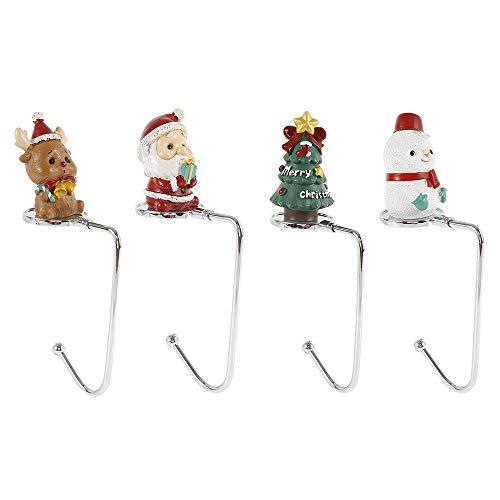 Relax love - 4 supporti per calza di Natale, ganci in metallo, decorazioni da tavolo, Babbo Natale, pupazzo di neve, alce, albero di Natale per camino, porta del camino, per appendere calze ghirlande