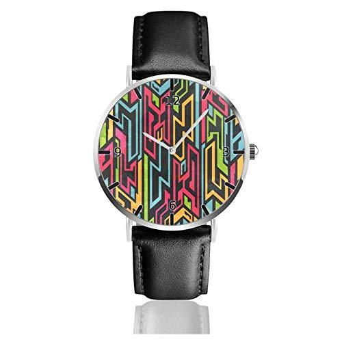 Los niños Miran Reloj Pulsera niño Historieta 3D Impermeable Tribal Colores Gra-FF-I-TI Pantalla Redonda 38mm Batería de botón Poder Unisex Watch