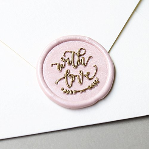 """UNIQOOO Arts & Crafts """" with Love """" Signature Design Wax Seal Stamp, Handwritten Calligraphy by Shelly Kim – Perfect Decoration for Invitations, Cards, Snail Mails, Gift Wrapping, Wine Packages"""
