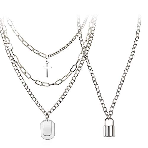 Holylove Eboy Chain Necklace - Statement Lock Pendant Necklace Sliver Set Egirl Long Multilayer Chains Punk Choker 2 Piece for Men Women- HLN102 Silver Set