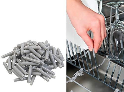 Sichler Haushaltsgeräte Geschirrkorb-Schutzkappe: 100er-Pack Universal-Schutzkappen für Spülmaschinen-Körbe, grau (Geschirrspüler-Geschirrkorbkappe)